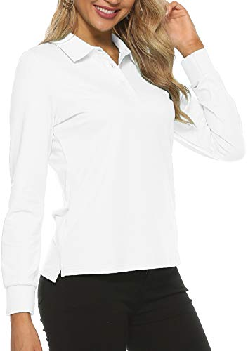 Women's Golf Polo Shirts Long Sleeve Sports Athletic Shirts Performance Tennis Tops Fitness Workout Leisure T-Shirt with Buttons White
