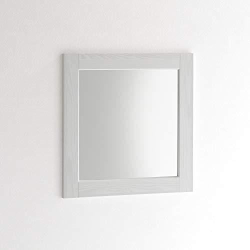 ARHome Specchiera Parete Quadrata, 60 x 60 Bianco Frassinato, Specchio Parete Muro, Made in Italy