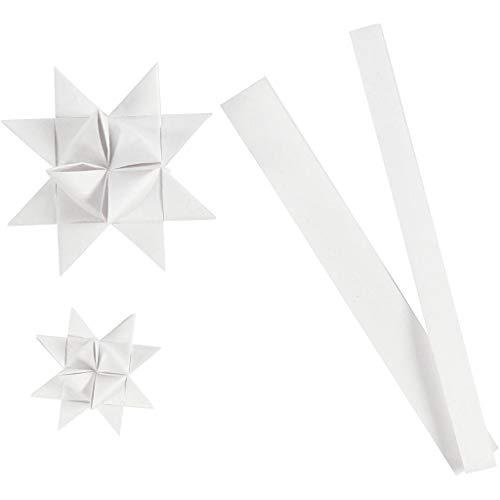 Papierstreifen für Fröbelsterne, B 15+25 mm, D: 6,5+11,5 cm, Weiß, Seide, 32Streifen, L 44+78 cm