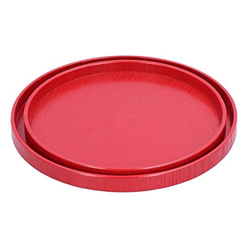 Bandeja de servicio redonda de 2 piezas, bandeja de té roja para mesa de centro, bandeja de comida con bordes elevados para cocina, restaurante, hogar