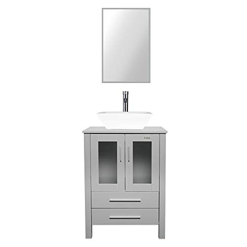 """eclife 24"""" Bathroom Vanity Sink Combo Grey Cabinet 16"""" White Square Ceramic Vessel Sink & 1.5 GPM Chrome Water Save Faucet & Pop Up Drain (Contemporary/Square)"""