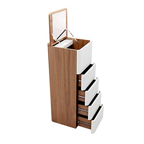 EVEN Nuevo gabinete de joyería con Espejo Organizador de Caja de joyería Armario de Almacenamiento de Joyas de Madera Colgante 5 cajones