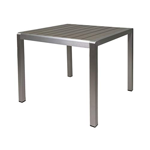 Christopher Knight Home Louie Coral Outdoor Dining Anodized Aluminum-Faux Wood Table Top-Square Gray-35, Silver + Gray