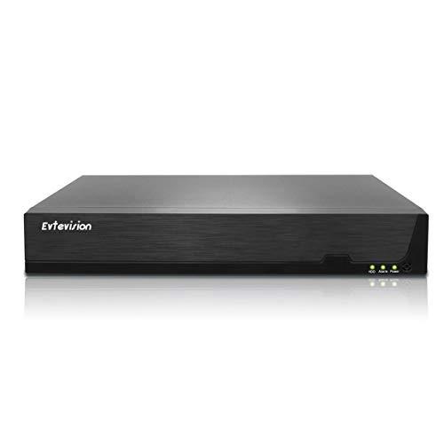 Evtevision PoE NVR 32CH 4K H.265 Network Video Recorder con 16 Puertos PoE, Soporte Onvif P2P Cloud Código QR rápido Scan Easy Remote View, 4K HDMI Salida, detección de Movimiento (Sin HDD)