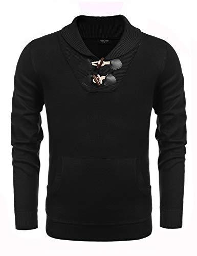 COOFANDY Men's Knitted Slim Fit Shawl Collar Sweater Long Sleeve Pullover (Medium, Black)