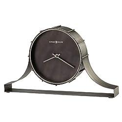 Howard Miller Seeley Mantel Clock 635-208 – Aged Silver Finish, Bent Iron Tambour Metal Frame, Machined Steel Dial, Antique Home Décor, Quartz Movement