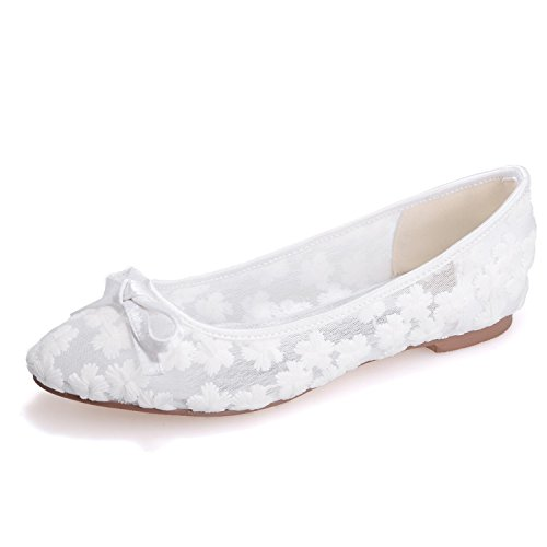 Damen Flache Brautschuhe Damen Slip On Ballerina Dolly Bow Lace Brautjungfer Pumps GrößE Chunky Closed Toe 3-9 / 8P 9872-21, White, 44