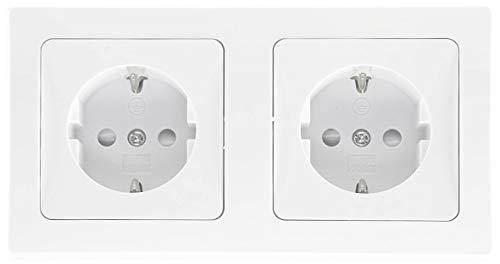 Delphi Steckdose 2-Fach Unterputz Weiß 2X Schutzkontakt-Steckdosen mit erhöhtem Berührungsschutz 2er UP-Steckdosen Anschluss über Komfort Kabel Klemme