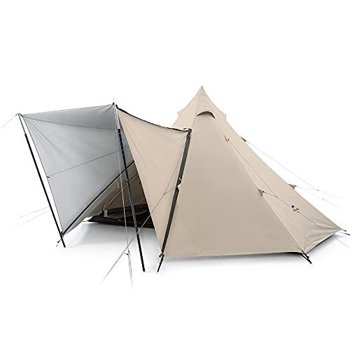 Naturehike Pyramid Tent 5/8 Persona Carpa Hexagonal Carpa Familiar para Acampar al Aire Libre Adecuada para Senderismo Vacaciones UV 50+ (Caqui 5-8P)