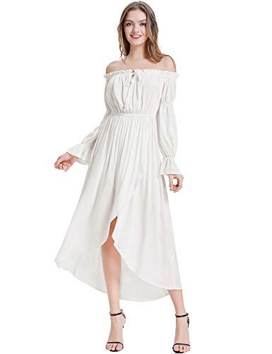 KANCY KOLE Ladies Casual Off Shoulder Maxi Dress Sexy Front Split Dress (White,XL)