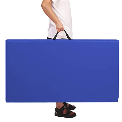 Gymnastics Tumbling Exercise Mat, 4'x8'x2 High Density EPE Foam Core Folding Gym Mats Blue Color