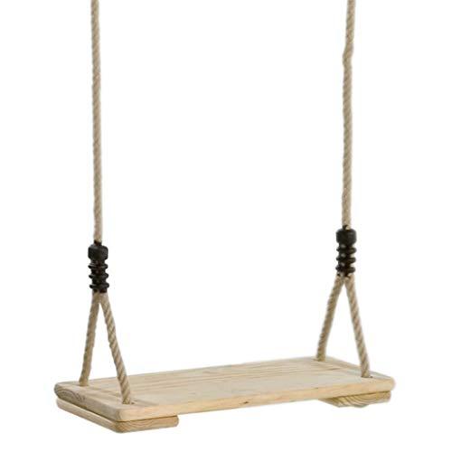 Siège de balançoire en pin, hamac for jardin et terrasse extérieur suspendu classique en bois - hauteur réglable, avec crochet à ressort et sangle de raccordement