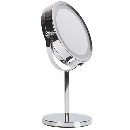 KingSaid Schminkspiegel Kosmetikspiegel mit LED Beleuchtung und 10 Fach Vergrößerung mit 360°Schwenkfunktion Durchmesser 17,5cm fürs Badezimmer und unterwegs batteriebetrieben