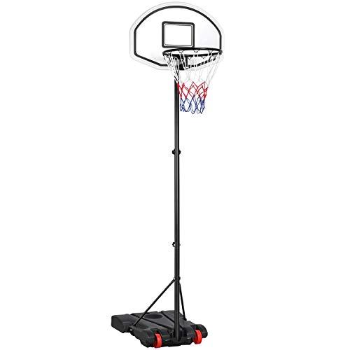 Yaheetech Basketballständer Basketballkorb mit Rollen und befüllbarer Ständer Höhenverstellbar Basketballanlage für Jugendliche und Erwachsene