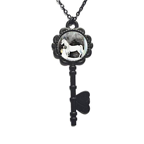 The Unicorn and Pendant Silver Key Necklace Glass Cabochon Art Unicorn Key Necklace Jewelry for Women,PU242
