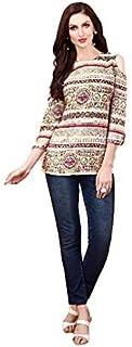 Khwahish - Cream Rayon Printed Cotton Cold Shoulder Top/Tunic/Short Kurti - Bracelet Sleeves (3/4th sleeves).