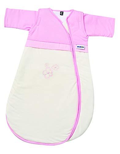 Gesslein 772143 Bubou - Saco de dormir para bebé con mangas desmontables (regulador de temperatura, para todo el año, 90 cm, color beige/rosa, 480 g)