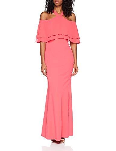 Gina Bacconi Carys Crepe and Chiffon Maxi Vestido de Fiesta, Rosa (Flamingo Pink), 38 para Mujer