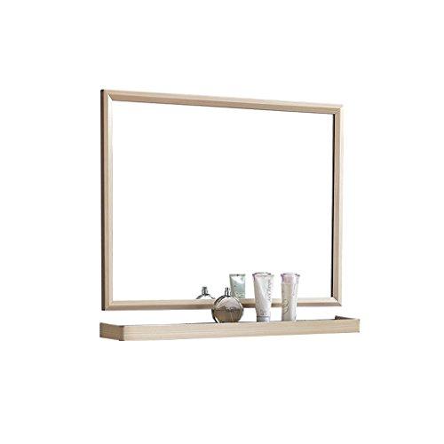 Aluminium badrum makeup spegel vägg tvättbar rakspegel skåp badrumsspegel med hylla skåp (färg: B, storlek: 80 x 60 cm)