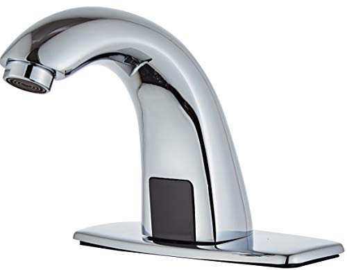 Luxice Automatic Touchless Bathroom Sink Faucet with Hole Cover Plate, AC/DC Powered Sensor Hands Free Bathroom Tap with Control Box and Temperature Mixer, Battery or Plug-in Sensor, Chrome Finished