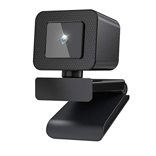 Webcam con Micrófono, 2020 Ultimo Diseño 2K Full HD Webcam, USB Plug and Play, 75° Ultra Gran Angular, PC Cámara para Video Chat, Estudio, Conferencias, Juegos, Compatible con Windows, Mac y Android