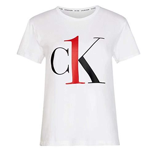 Calvin Klein CK Un Salotto a maniche corte con collo e maglietta – bianco/logo rosso Blanc/Logo Rouge L