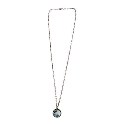 WTALL Collar de moda, collar de cristal del universo brilla en la oscuridad colgante collar de cristal luminoso de la luna