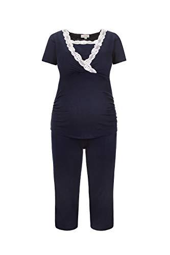 Herzmutter Kurzer Stillpyjama-Umstandspyjama - Nachtwäsche-Pyjama-Set für Schwangerschaft-Stillzeit-Stillfunktion - Schlafanzug mit Spitze-Streifen-Muster - Softes Material - 2500 (XL, Blau)