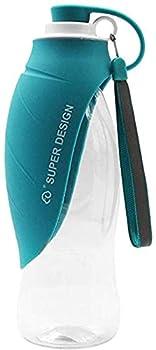 Petilleur Bouteille Eau pour Chien Portable Gourde Chien Voyage avec Bol en Silicone pour Extérieure (Bleu)
