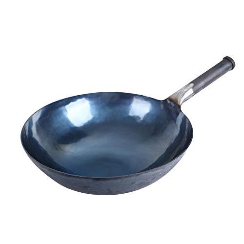 Traditionelle Handgemachte Eisenpfanne Antihaftpfanne Unbeschichtete Küchenutensilien Handgefertigter Wok,34cm