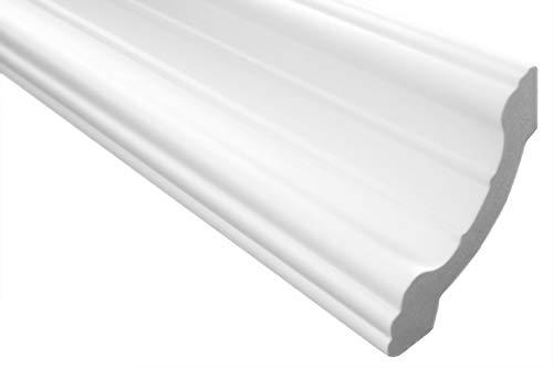 Zierleiste E-34   leicht und stabil   extrudiertes Styropor   Stuckprofil   Decken-/ und Wandübergang   modern weiß   dekorativ   XPS   80 x 80 mm   2 Meter