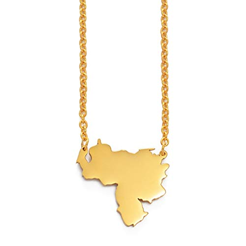 SKYROPNG Unisex Pendant Necklace,Charm Venezuela Map Pendant Golden Chain For Women Men,Fashion Ethnic Jewellery Party Gifts Mother Clothing Accessory-China Custom,50Cm