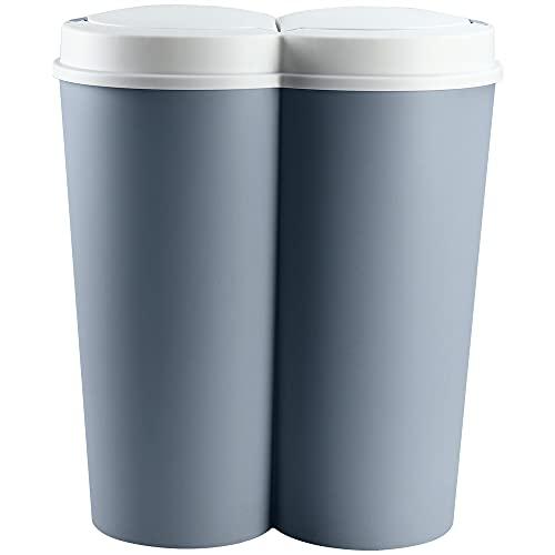 Deuba Mülleimer 50 L Duo 2fach Trennsystem 2x25 L Druckknopf-Automatik Küche Abfalleimer Müllbehälter Mülltrennung Blau