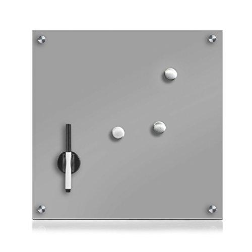 Zeller 11665 Memobord, Glas, grau, ca. 40 x 40 x 2 cm