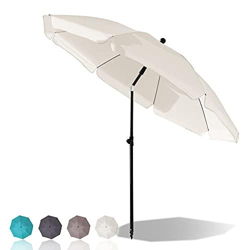 Newton Tyler Sonnenschirm Strandschirm Ø 200 cm Marktschirm Gartenschirm, Terrassenschirm mit Bodenhülse & Drehstange & Schutzhülle, Creme rund Sonnenschutz UV 50+