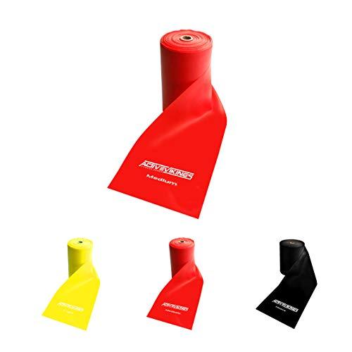 ActiveVikings® - Fascia fitness, 20 metri, rotoli in 3 spessori, ideale per sviluppare i muscoli, fisioterapia, pilates, yoga, ginnastica, fitness, ginnastica, esercizi di resistenza