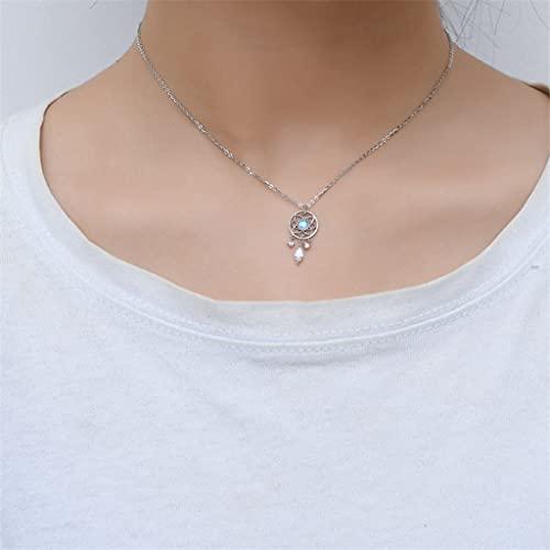 KONZFP Collar Collar de Gargantilla con Colgante de Plumas de atrapasueños de Piedra Lunar Plateada para Mujer, joyería de Boda llamativa
