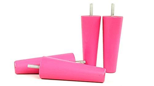 Beine Holz Baby Pink Finish 125mm hoch Set von 4Ersatz Füßen für Sofa Stühlen, Sofas M10(10) pkc2117l