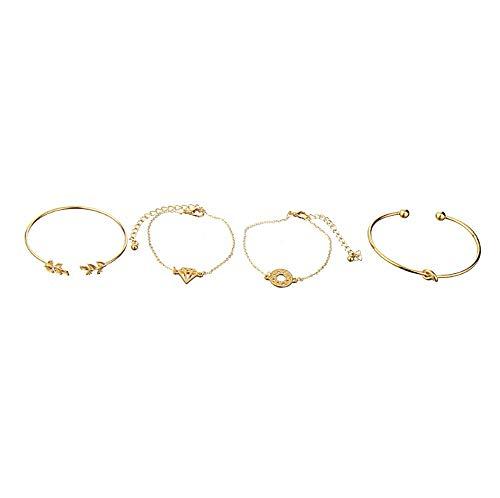 Pulseras de mujer para niñas, 4 piezas elegantes de cristal rosa flor brazalete brazalete brazalete joyería oro conjunto