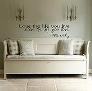 Imprinted Designs Love The Life You Live. Bob Marley 23 Inch Quote Vinyl Wall Decal Sticker Art