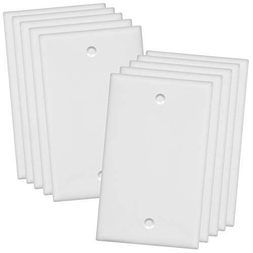 ENERLITES Blank Device Wall Plate, Size 1-Gang 4.50' x 2.76', Polycarbonate Thermoplastic, Electrical Covers for Unused Outlets/Switches, 8801-W-10PCS, White (10 Pack), 10