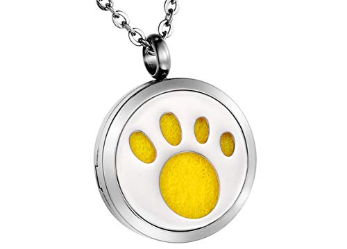 HooAMI Aromatherapy Essential Oil Diffuser Necklace - Pet Dog Paw Stainless Steel Locket Pendant, 12 Refill Pads