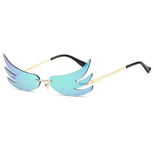 DLSM Moda única Forma de Llama Gafas de Sol Mujeres Colorido Espejo Recubrimiento Lente reflexivo Gafas Hombres Gafas de Sol Tonos UV400-Verde Dorado