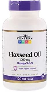 21st Century Flaxseed Oil 1000mg Softgels 120 Count (3 Pack)