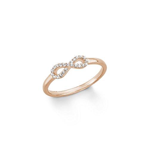 s.Oliver Damen-Ring Infinity Zirkonia 925er Sterling Silber rosévergoldet weiß Gr. 56 (17.8) - 567817