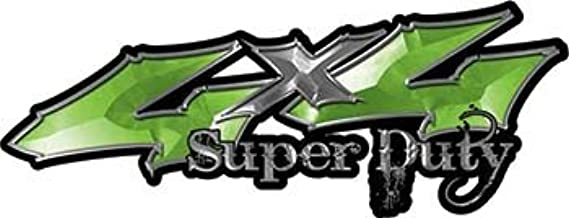 REFLECTIVE Super Duty Twisted Series 4x4 Truck Bedside or Fender Emblem Decals in Green