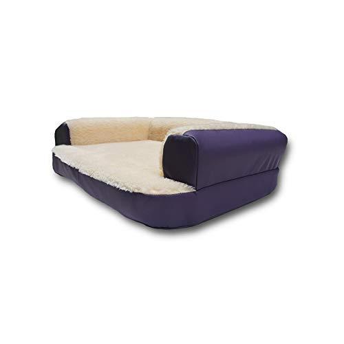 Ventadecolchones - Cama Ortopédica para Perro Deluxe Desenfundable - Grande: 120 x 75 cm - Tela Antimanchas Suave Essence Rosa - 3 cm de Visco + 4 cm de Espuma