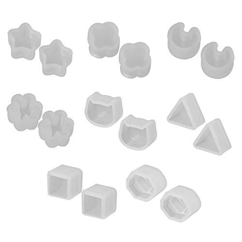 siwetg Juego de 8 pares de moldes de silicona de resina UV...