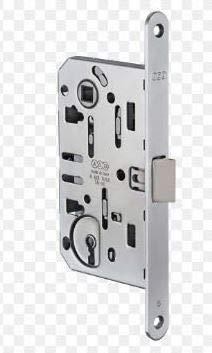 Serratura'Mediana Evolution' con scrocco centrale - chiave tipo Patent inclusa - CROMO OPACA Frontale: 18 x 196 mm Chiusura: con chiave