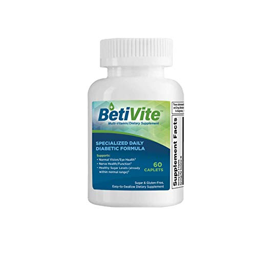 BetiVite Diabetic Multivitamin (60 Caplets, 30 Day Supply) 24 Hour Protection for People with Diabetes - Blood Sugar Support & Eye Health Supplement with Vitamin C, Alpha Lipoic Acid, Chromium